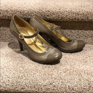 Taupe Mary-Jane heels